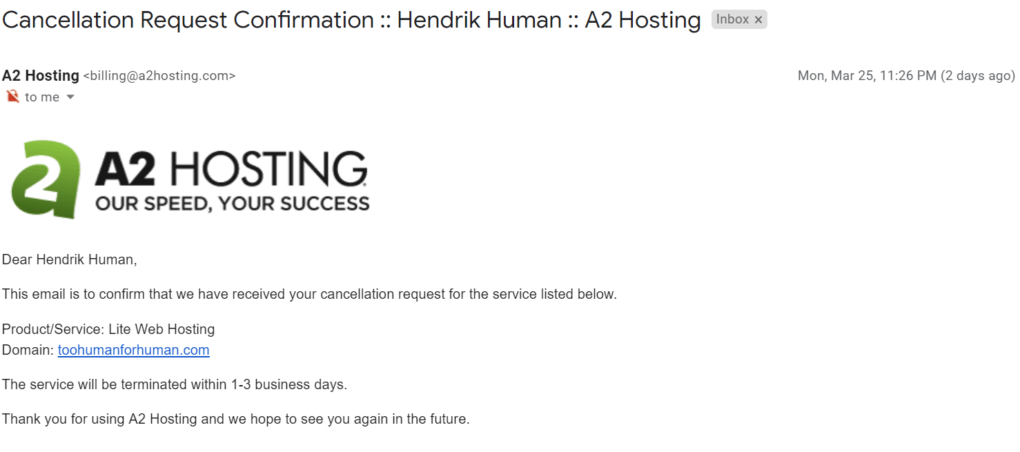 How to Cancel Your A2 Hosting Account and Get a Refund-image6