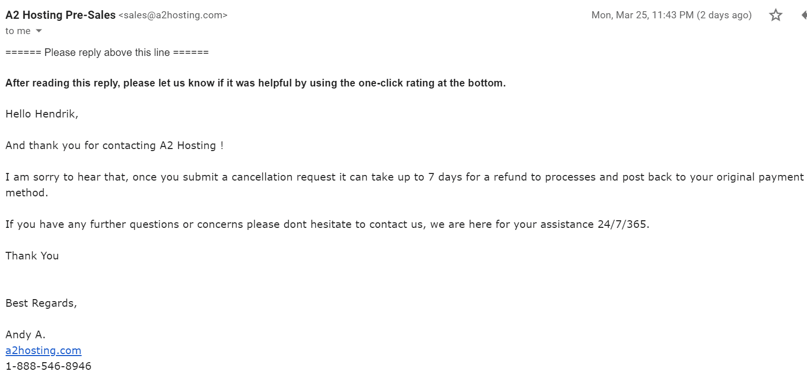 How to Cancel Your A2 Hosting Account and Get a Refund-image7