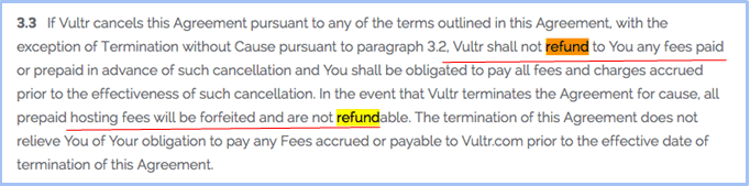 Cancellation of Vultr Account No Refunds Terms and Conditions