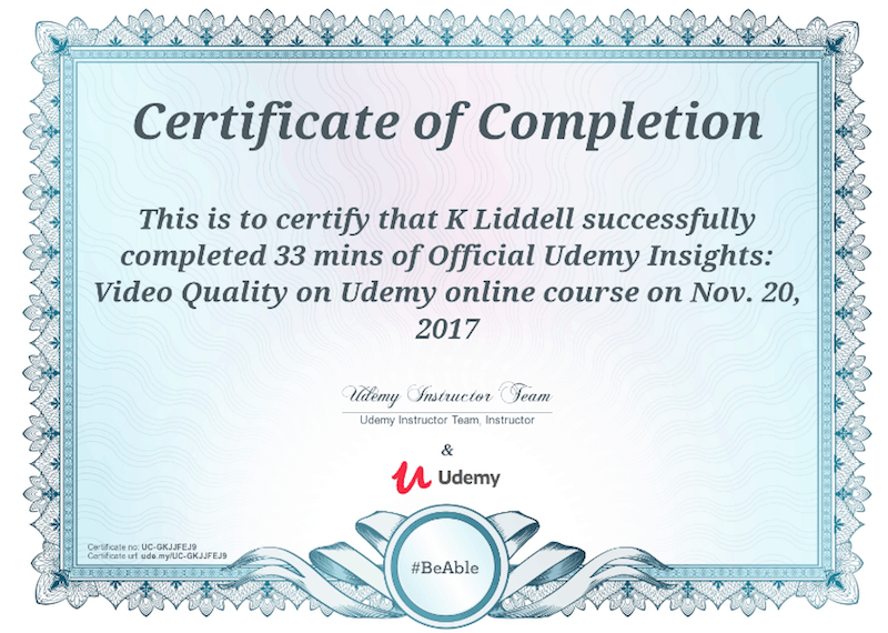 udemy course certificate