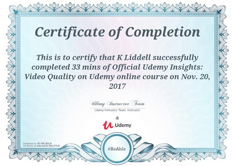 certificato di corso udemy