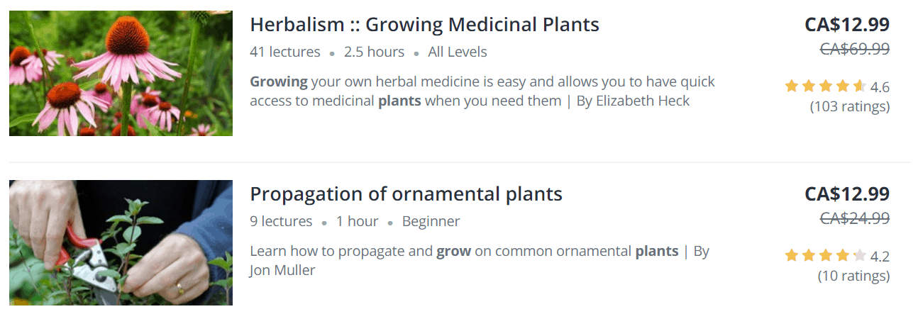 udemy courses on plants