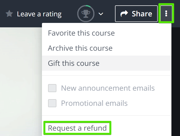 udemy request a refund