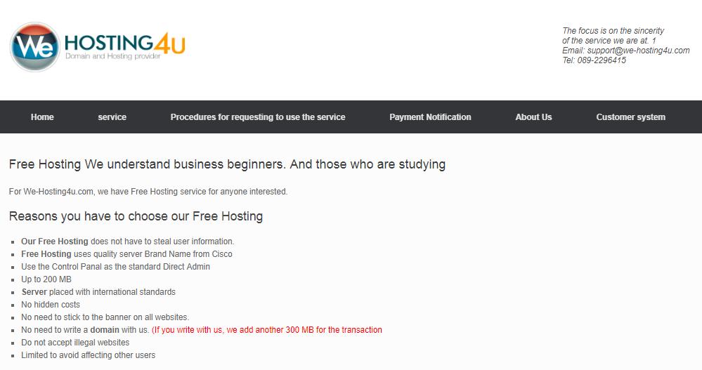 We-Hosting4U free hosting