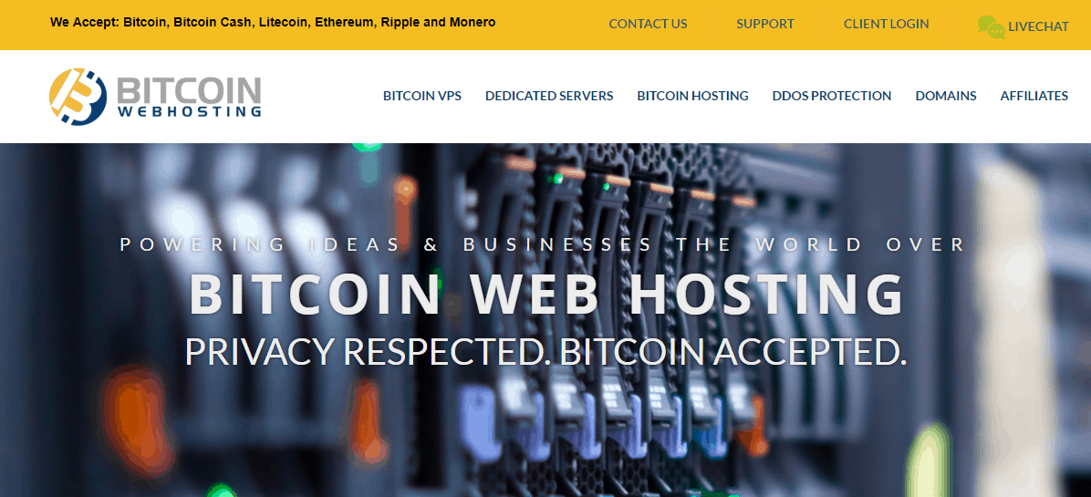 Bitcoin Web Hosting homepage