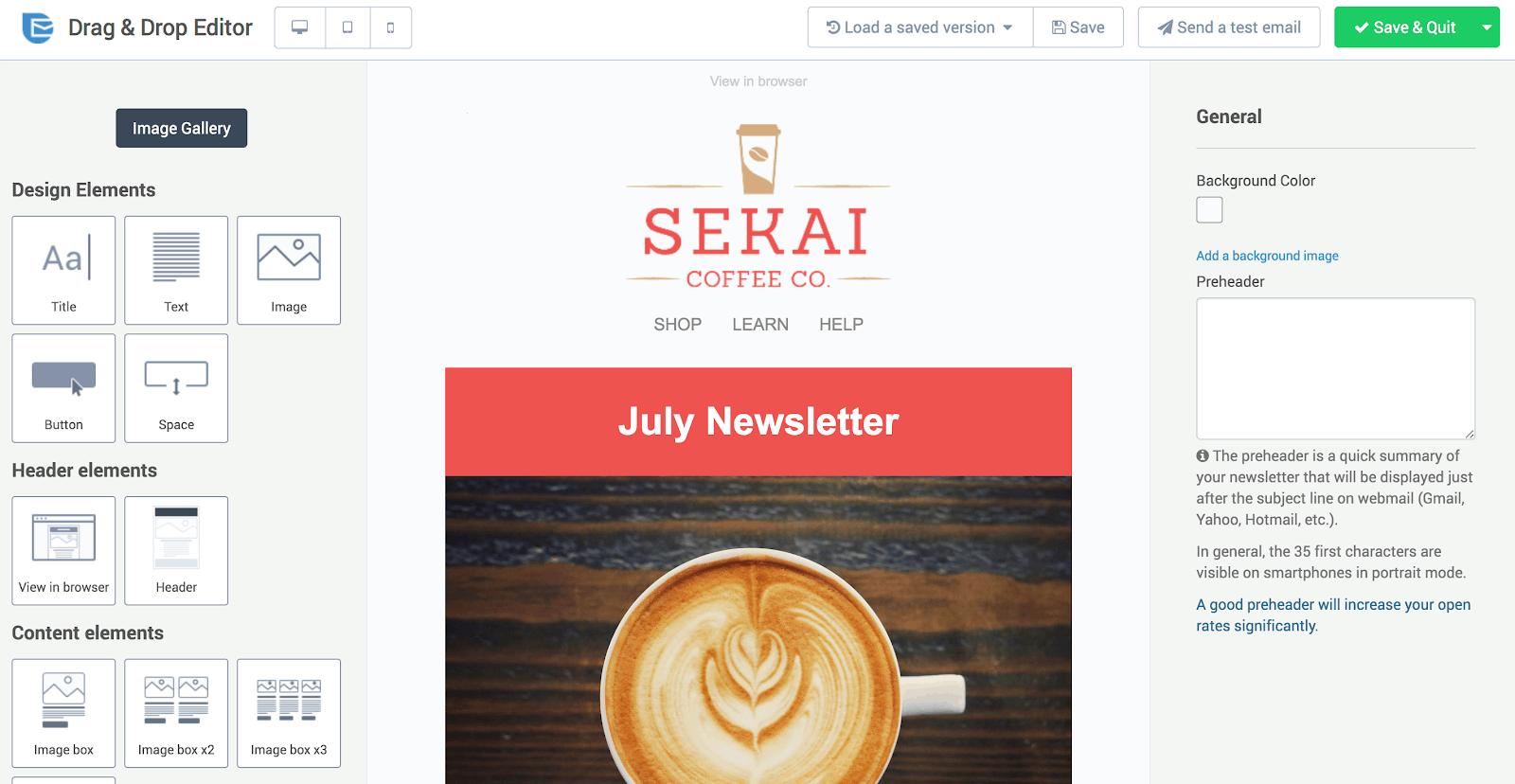 SendInBlue's intuitive email editor