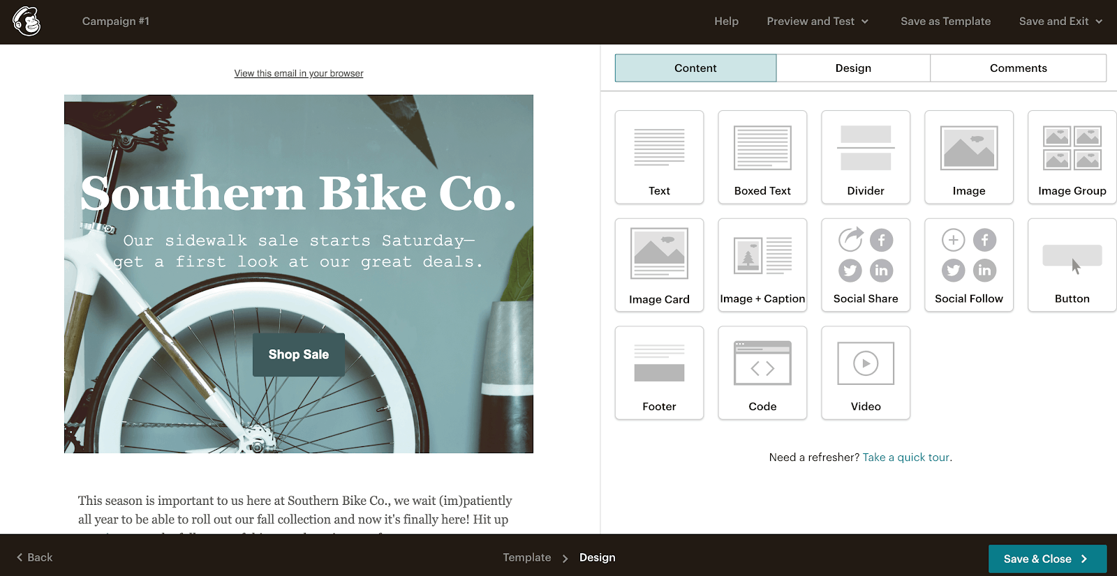 Mailchimp's design blocks and templates