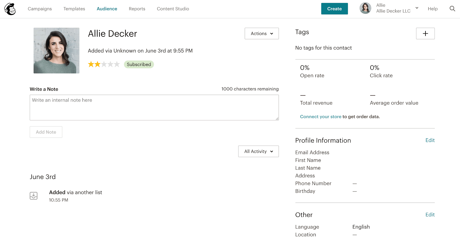 Mailchimp's audience section allows you to tag and categorize your subscribers