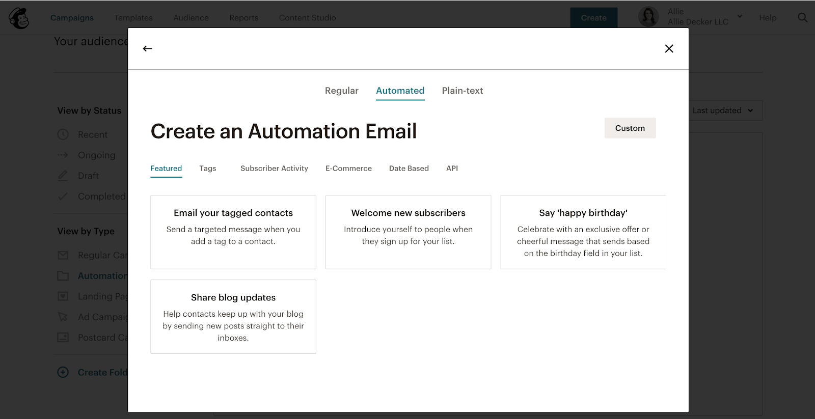 Mailchimp's automation options