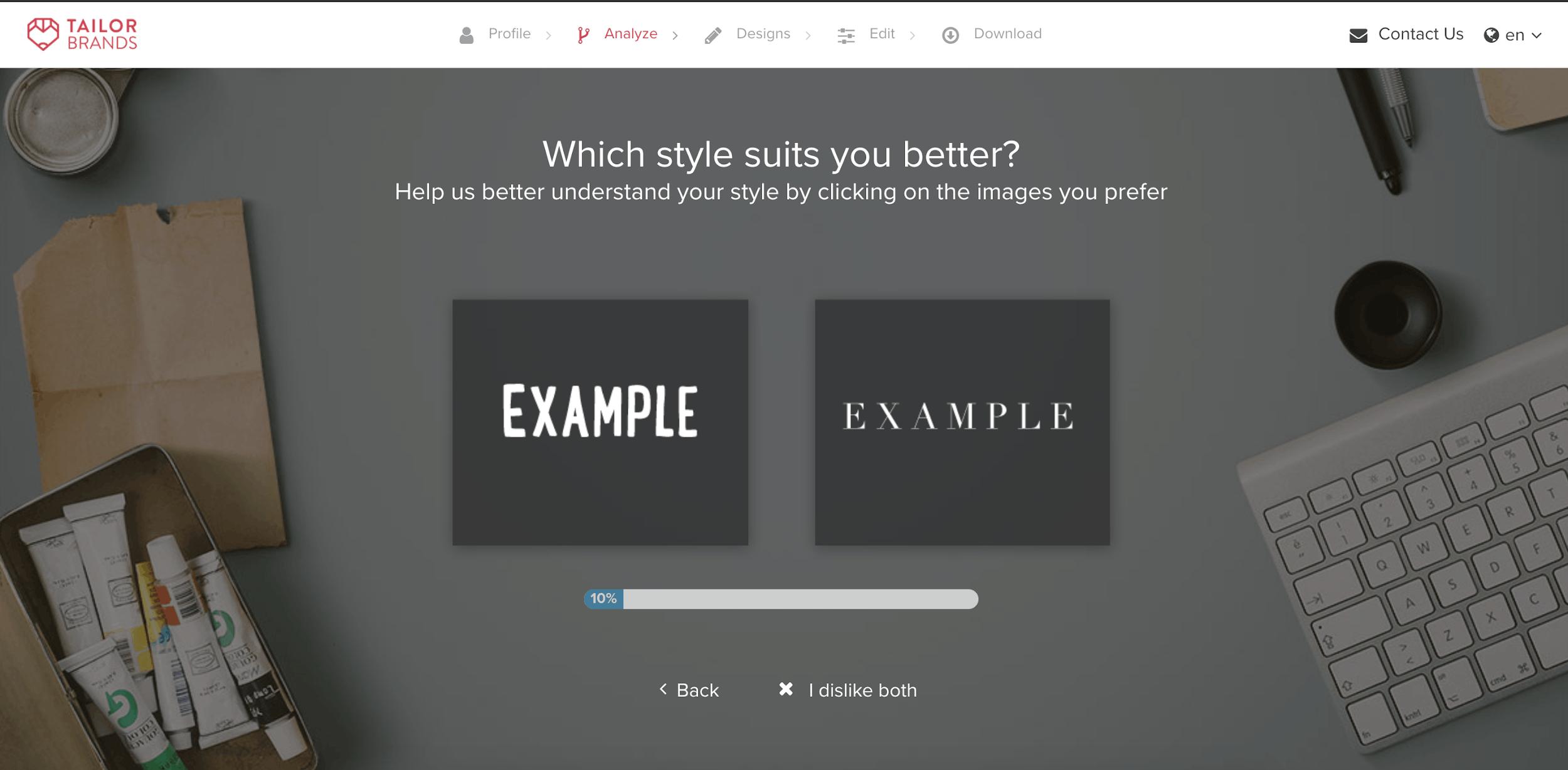 Tailor Brands screenshot - Font Styles