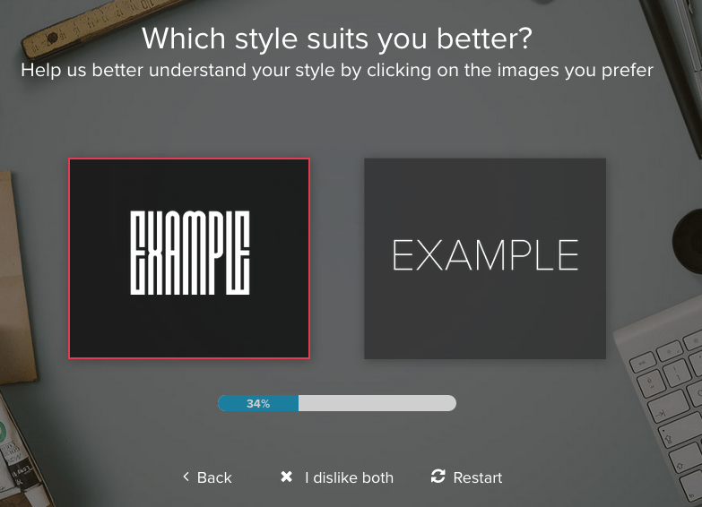 Tailor Brands screenshot - font options