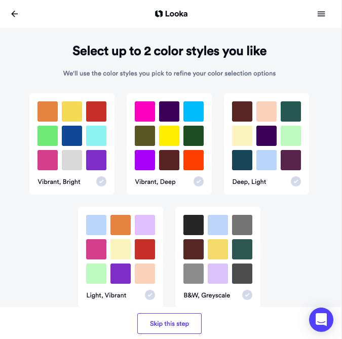 Looka screenshot - color palettes