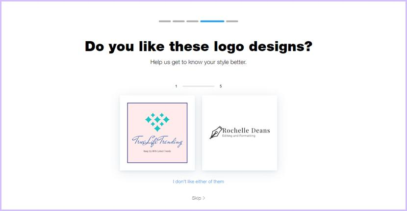 Wix Logo Maker screenshot - Choose your style