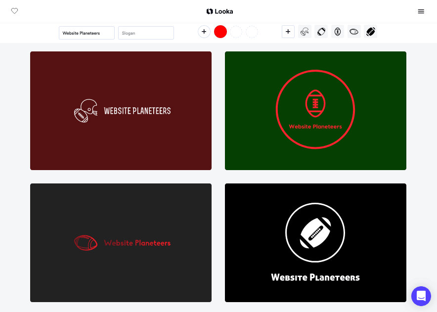Looka screenshot - football logo samples