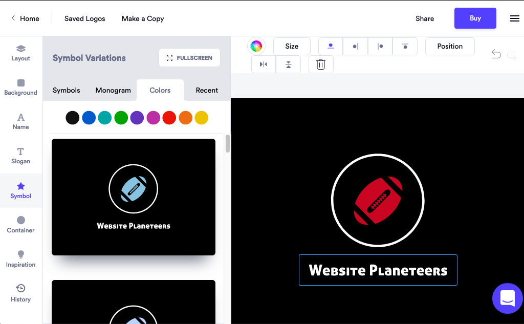 Looka screenshot - logo design editor