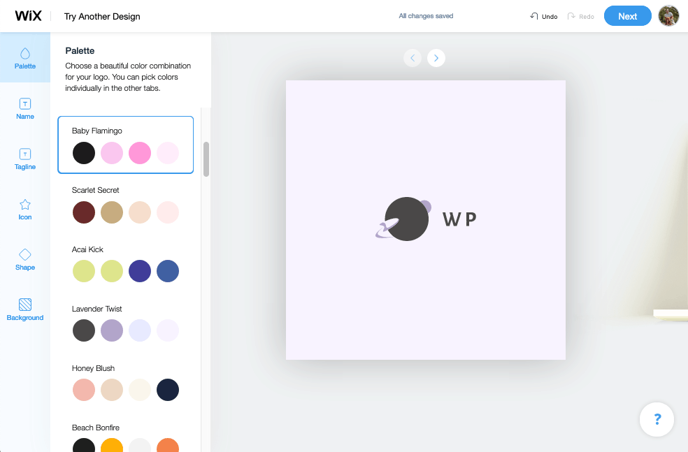 Wix Logo Maker screenshot - Color palettes