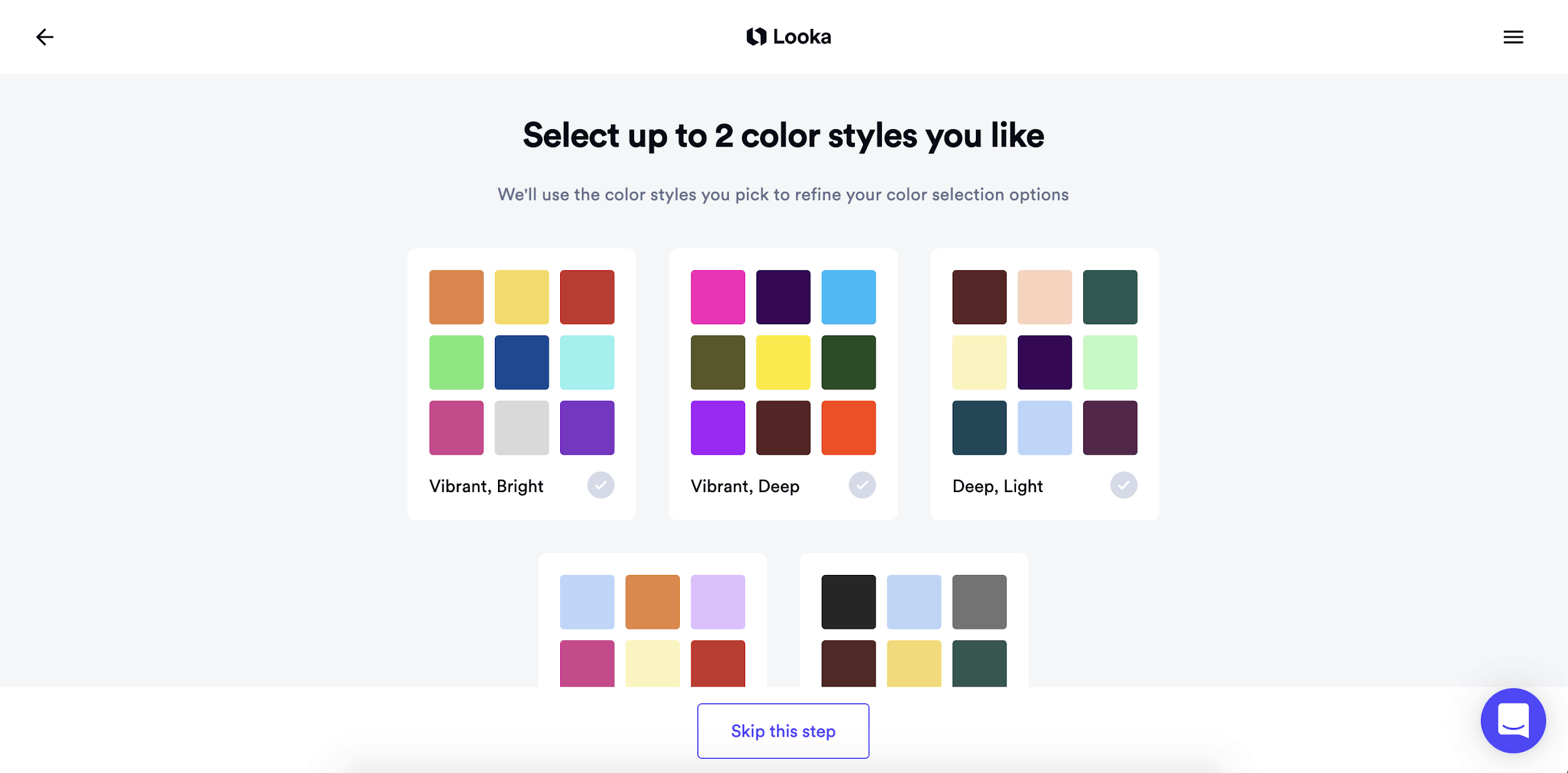 Looka screenshot - select color styles