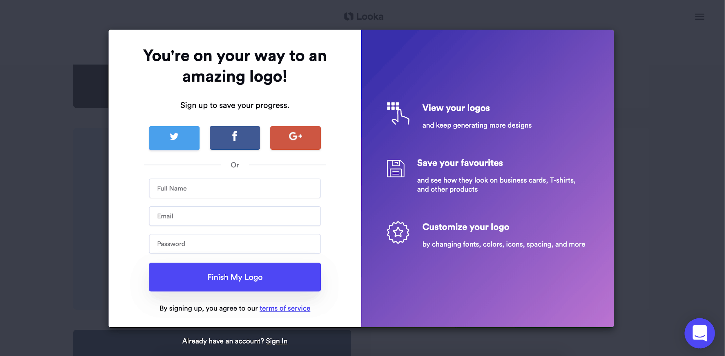 Looka screenshot - signup screen
