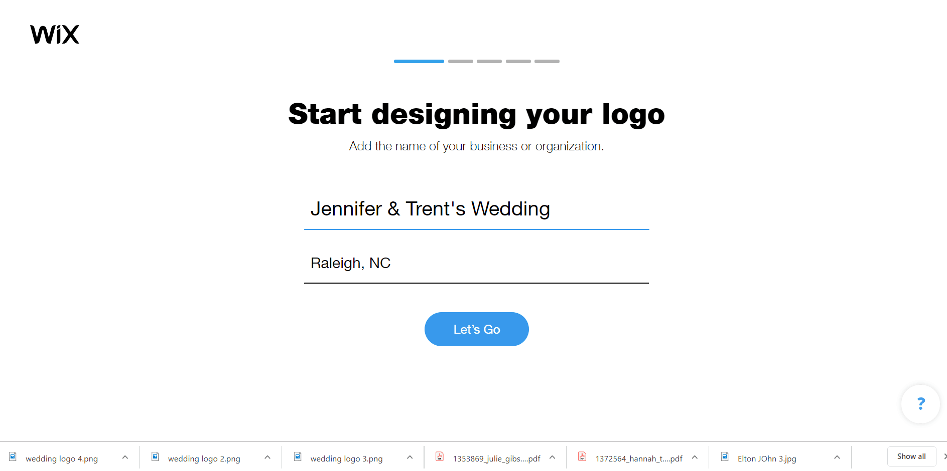 Wix Logo Maker screenshot - start page