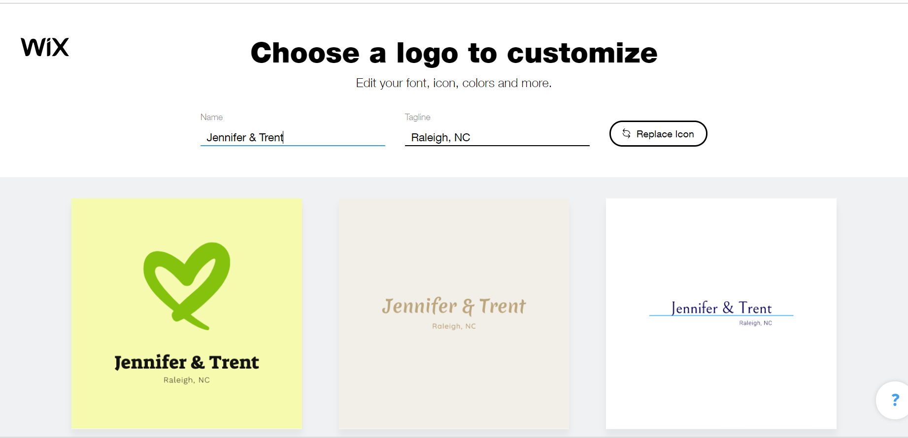 Wix Logo Maker screenshot - Choose a logo