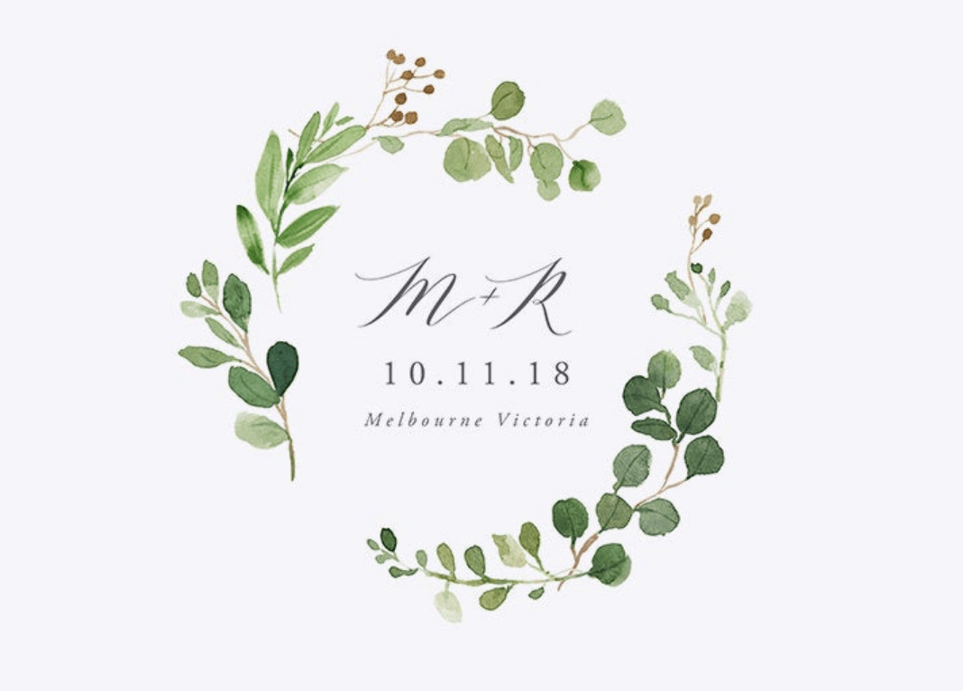 M & K wedding logo
