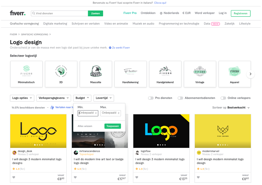 Fiverr logo designer search wizard