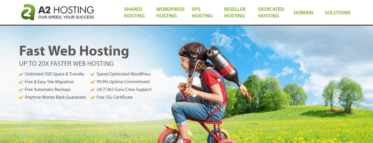 Best SSD hosting - A2 hosting homepage