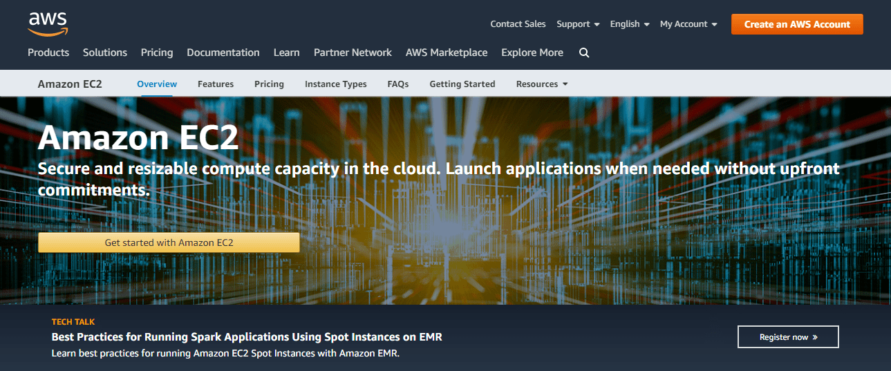 Amazon Web Services' Homepage