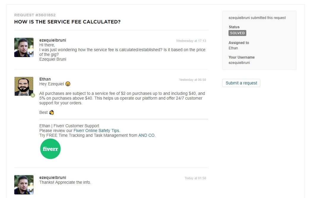 Fiverr Support Ticket - screenshot
