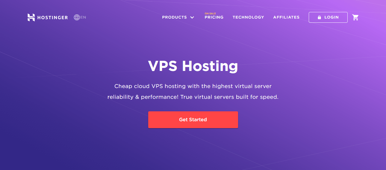 Hostinger's Cloud VPS Hosting Landing Page