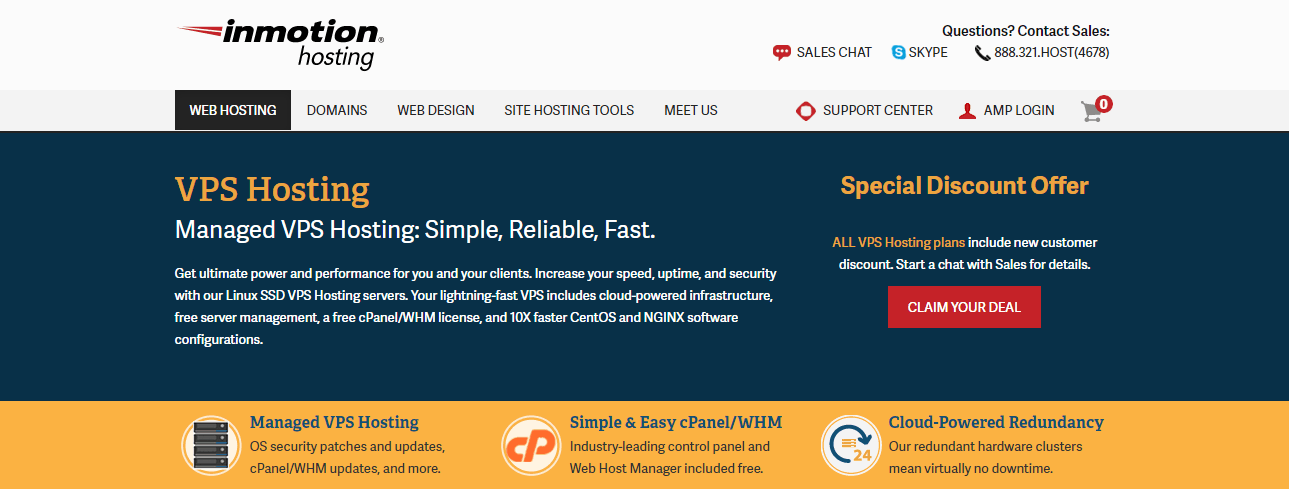 InMotion Hosting's VPS Hosting Landing Page