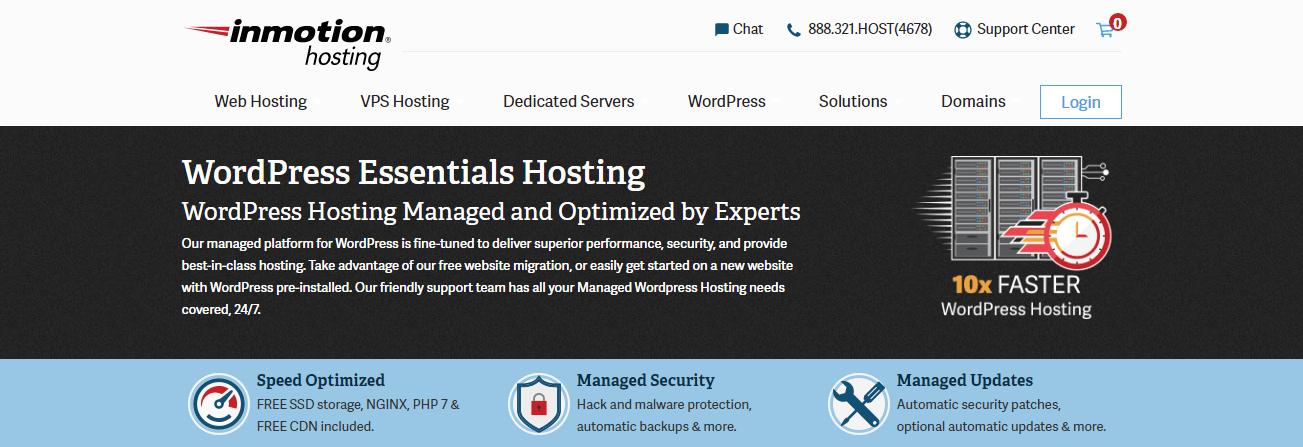 Best SSD hosting - InMotion hosting homepage