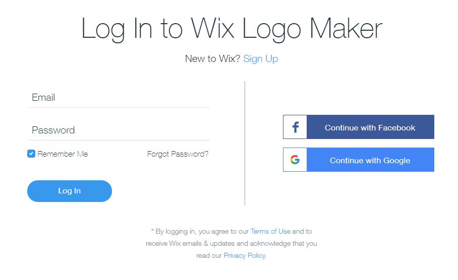 Wix Logo Maker screenshot - Signup