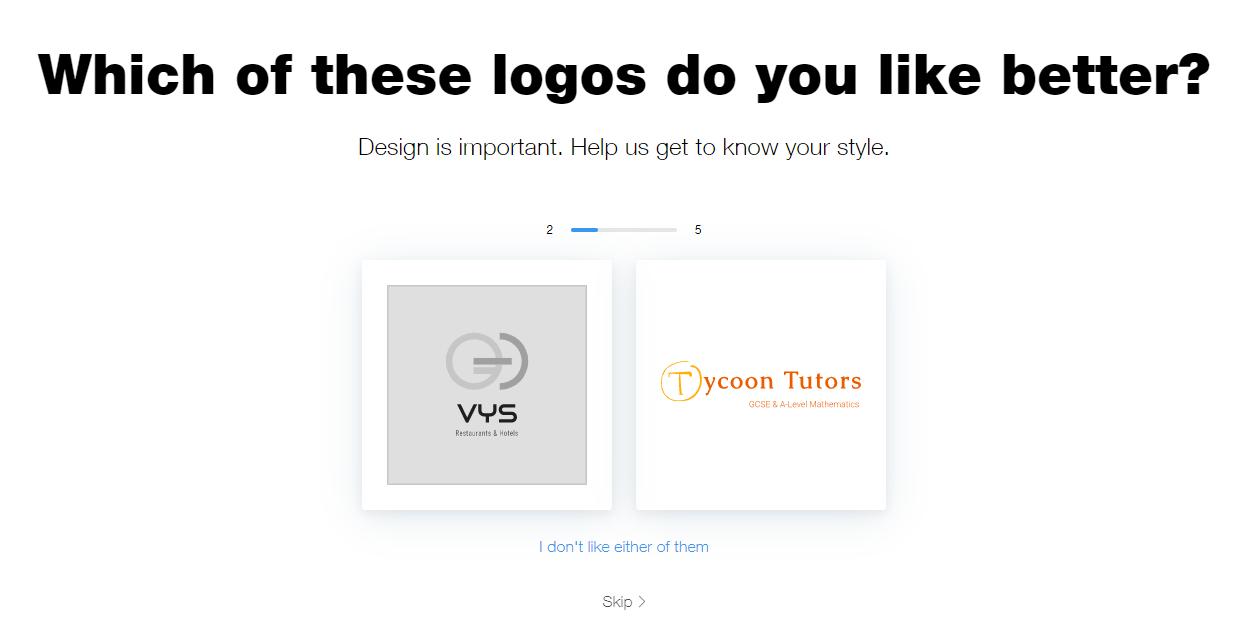 Wix Logo Maker screenshot - Logo sample pairs