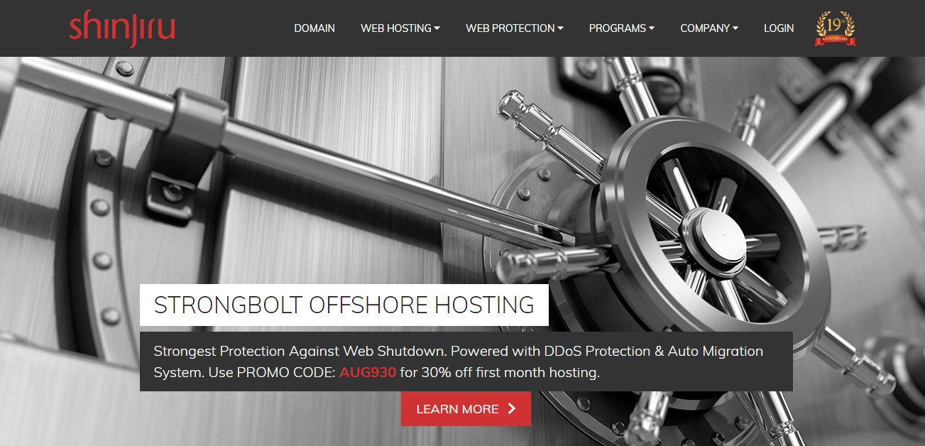 Shinjiru Offshore Hosting Homepage