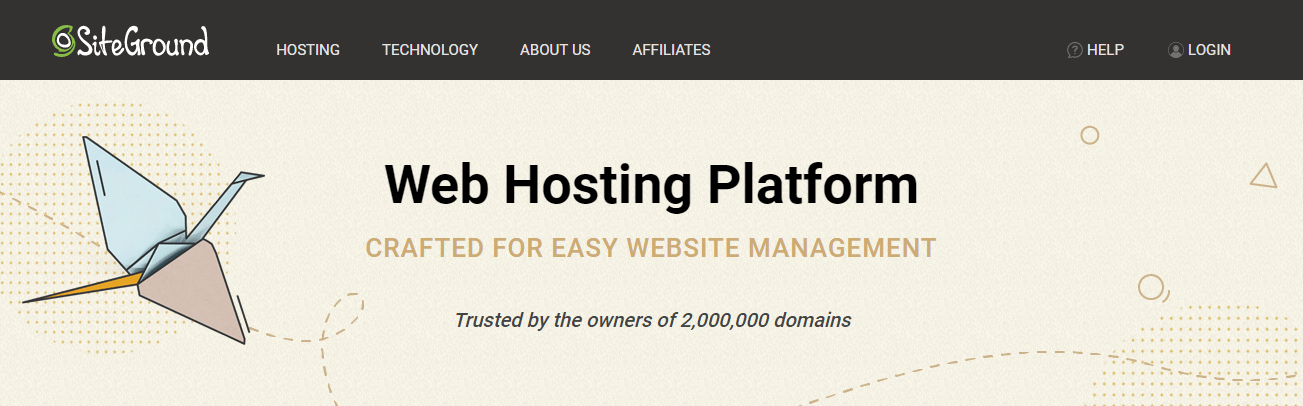 Best SSD hosting - SiteGround homepage