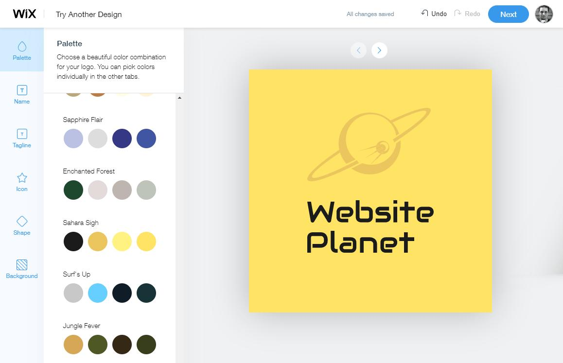 Wix Logo Maker color palettes - screenshot