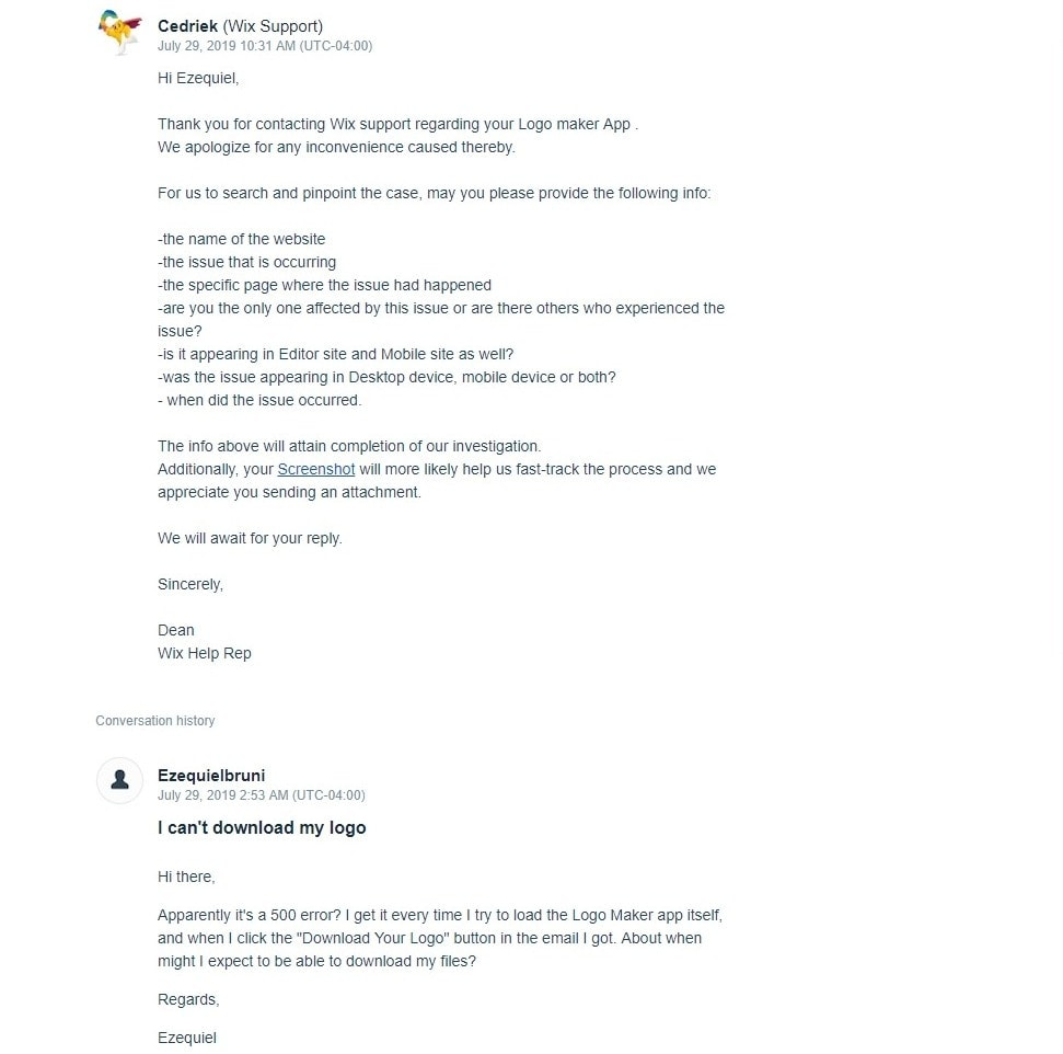 Wix support email screenshot