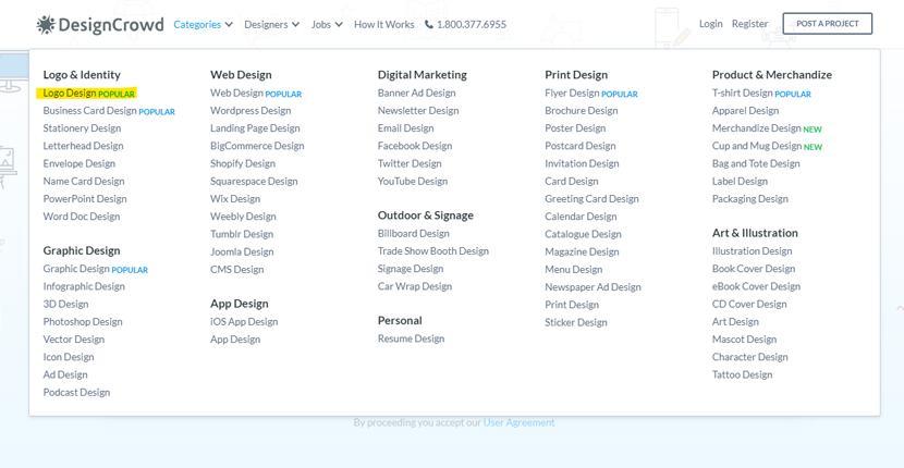 DesignCrowd screenshot - Design categories