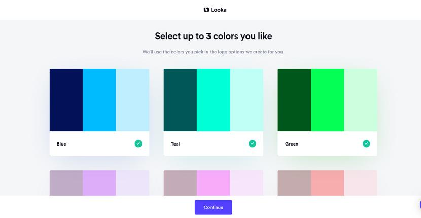 Looka screenshot - Select colors