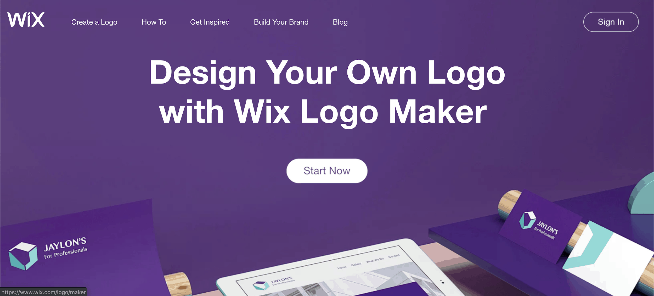 Wix Logo Maker screenshot - homepage