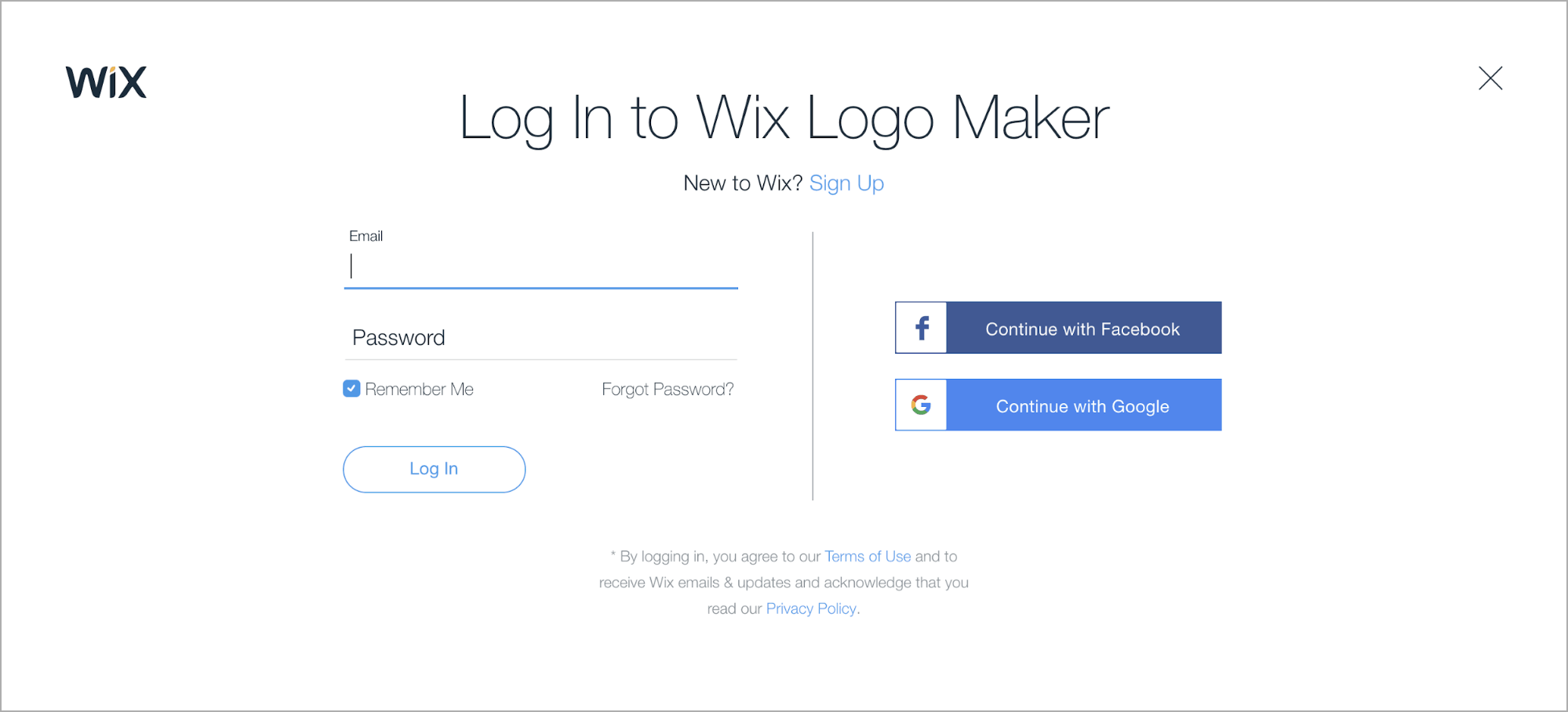 Wix Logo Maker screenshot - Login