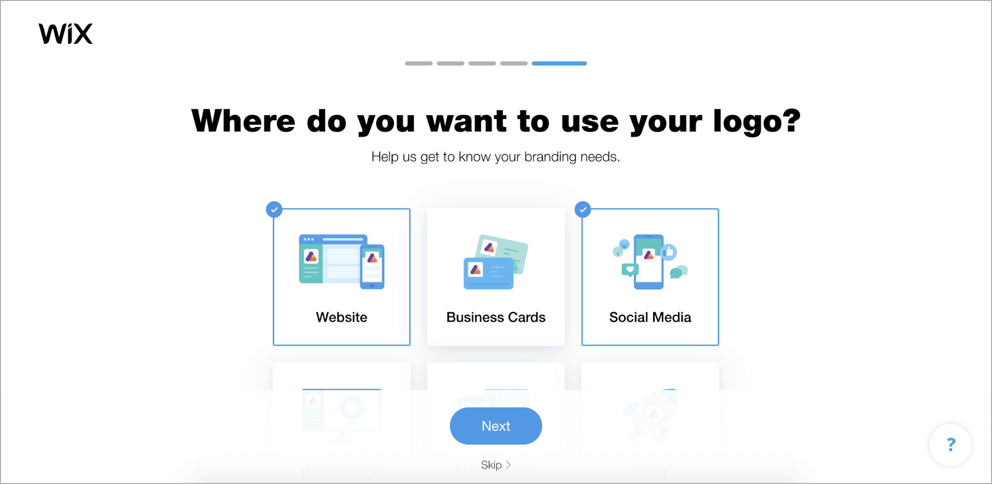 Wix Logo Maker screenshot - Where do you want to use your logo?