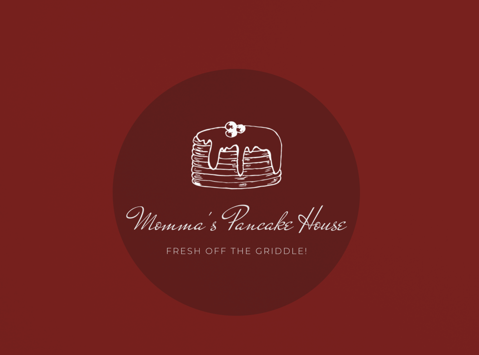 Sample restaurant logo made with Wix Logo Maker - white on maroon