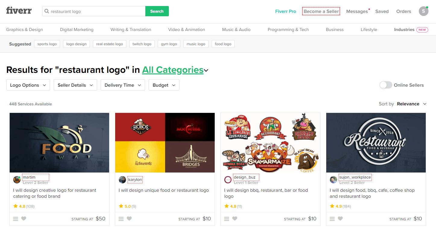 Fiverr screenshot - restaurant logo designers