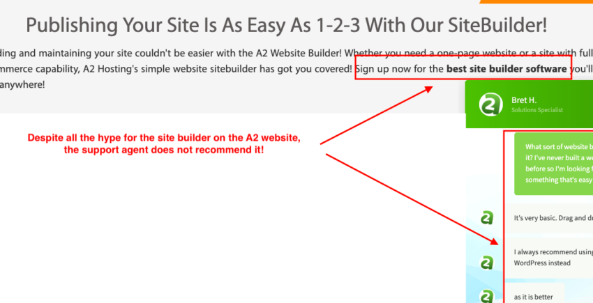 A2 Hosting's site builder