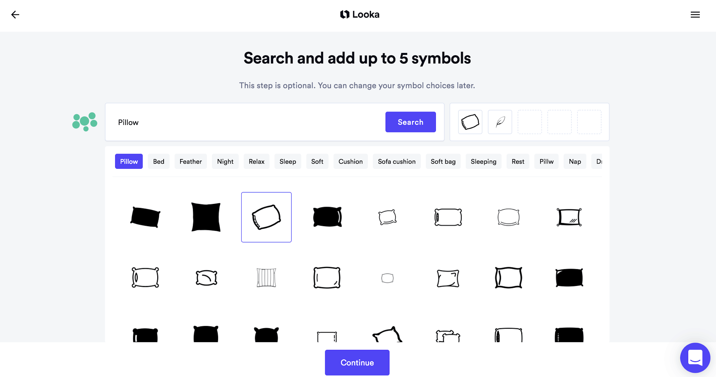 Looka screenshot - Symbol library