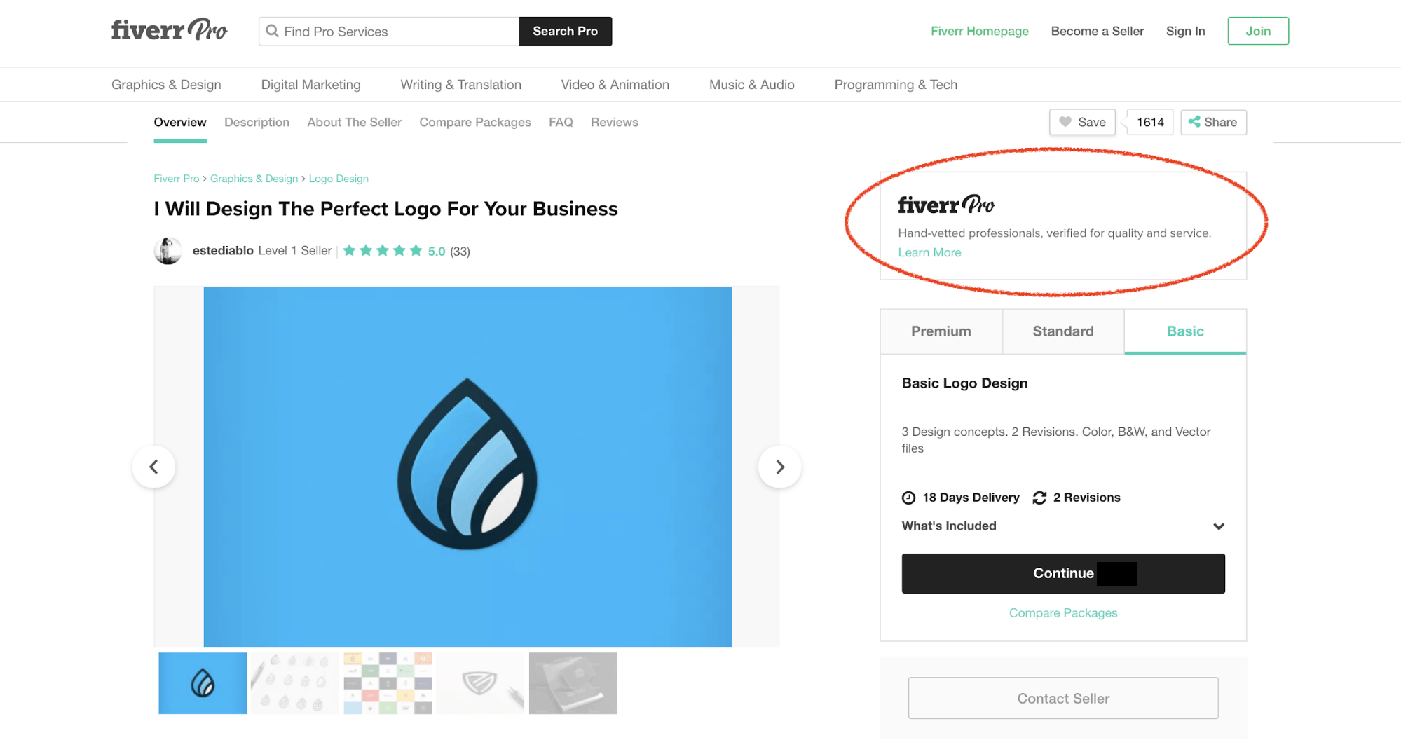 Fiverr screenshot - Pro seller logo design gig details