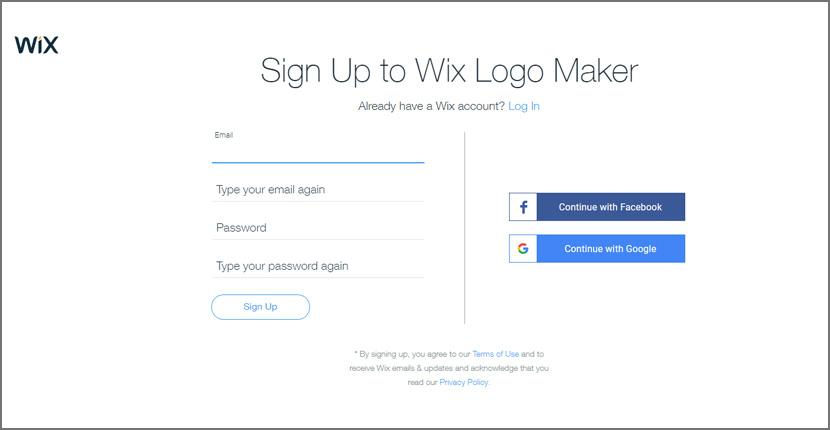 Wix Logo Maker screenshot - signup