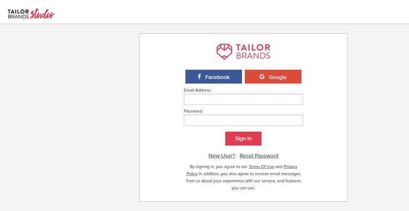 Tailor Brands screenshot - Login screen
